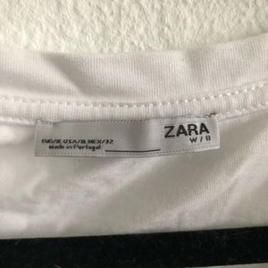 Zara Tops - White top with fur lady design